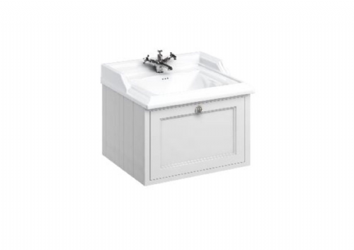 Burlington 650 Wall Hung Vanity Unit With Single Drawer, Various Colours & Basin